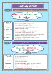English Worksheet: LINKING WORDS (Conjunctions + Adverbs) Page - 09