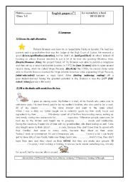 English Worksheet: test for tunisian students (1st form)