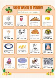 English Worksheet: How Much Is There?