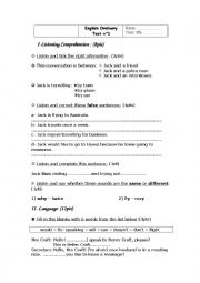 English Worksheet: listening test