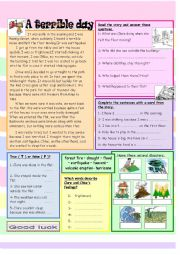English Worksheet: A terrible day