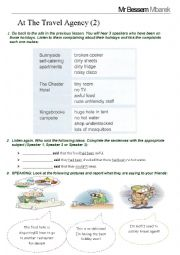 English Worksheet: At the Travel Agency - Part 2 - Listening + Speaking
