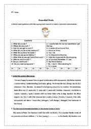 English worksheet: remedial work 9th form