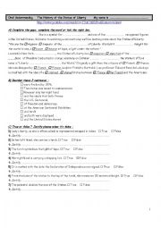 English Worksheet: The Statue of Liberty - Oral Understanding  - Worksheet -
