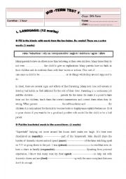 English Worksheet: mid term test N�1 (9th form)