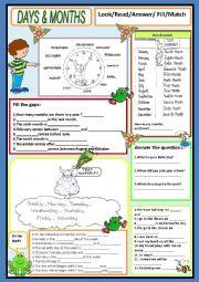 English Worksheet: Days & Months