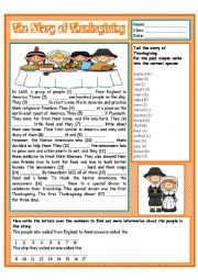 English Worksheet: The Story of Thanksgiving