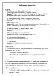 English worksheets: colon and semicolon