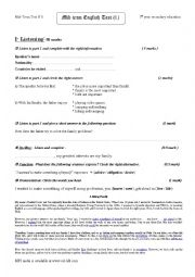 English Worksheet: Mid-Term Test N 1 3rd year