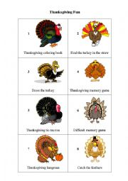English Worksheet: Thanksgiving Computer Games