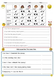 English worksheet: What do they like?