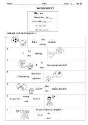 English worksheet: Like and don´t like