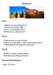English Worksheet: A postcard from Morocco