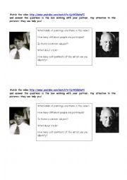 English Worksheet: Picasso brainstorming activity (lesson 1)