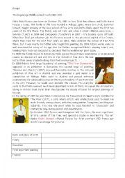 English Worksheet: picasso�s lfe and works part 1