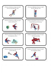 English Worksheet: Spiderman Past Continuous Charade Cards