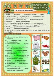 English Worksheet: Are, is or am? - 2 pages, teacher´s handout (keys) included.