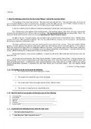 English Worksheet: Another test on Maya Angelou�s short story