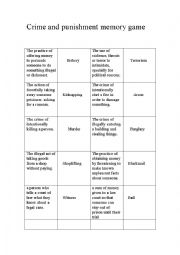 English Worksheet: crime and punishment memory game