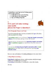 English Worksheet: Useful Phrases for Writing papers at FCE and CAE level