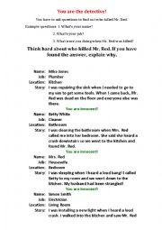 English Worksheet: Detective Game