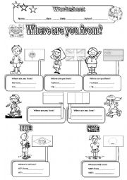 English Worksheet: WHERE ARE YOU FROM- Countries and Nationalities+ Pronouns+ 2 PAGES