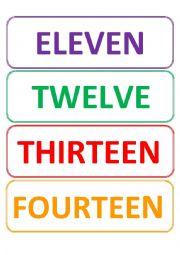 flash cards 11-20 - ESL worksheet by TeacherMariaJose