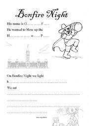 English Worksheet: The Story of Guy Fawkes and Bonfire Night - 5th November