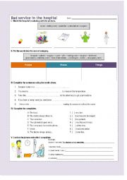 English Worksheet: A bad health service in the hospital