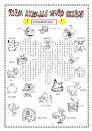 English Worksheet: Farm animals Word search