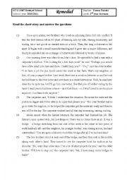 English Worksheet: remedial work reading comprehension
