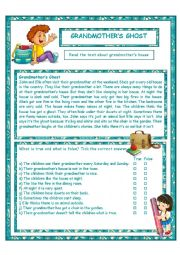 English Worksheet: Grandmother�s Ghost