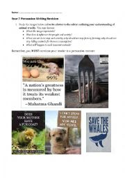 English Worksheet: Persuasive writing prompt