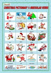 English Worksheet: CHRISTMAS PICTIONARY 1: IRREGULAR VERBS