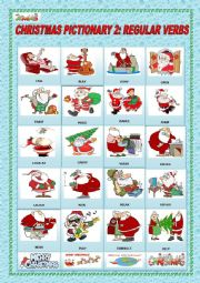 English Worksheet: CHRISTMAS PICTIONARY 2: REGULAR VERBS