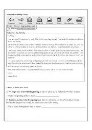 English Worksheet: Writing an Informal E-mail