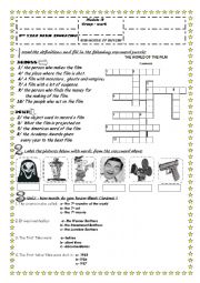 English Worksheet: THE WORLD OF THE CINEMA ( 1ST PART)
