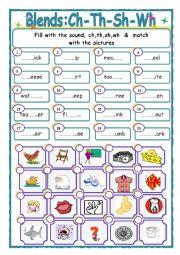 English worksheets: sh worksheets