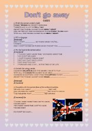 English Worksheet: SONG ACTIVITY: Don�t go away - Oasis