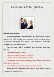 English Worksheet: Meeting people ( part 1)