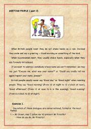 English Worksheet: Meeting people ( part 2)