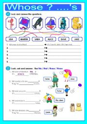 English Worksheet: Whose? - �s - - - Possessive case