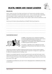 English Worksheet: Death, Omens and Urban Legends