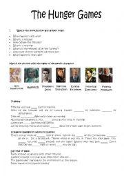 English worksheets: The hunger Games worksheets