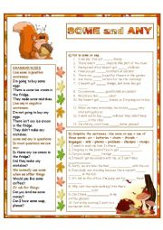 English Worksheet: SOME and ANY