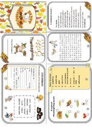 English Worksheet: Thanksgiving minibook