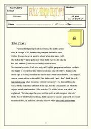 English Worksheet: Full-Term Test N�1  A GIFTED BOY