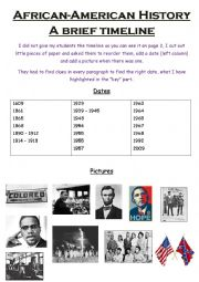 English Worksheet: African-American Timeline, Black History