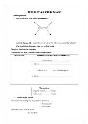 English Worksheet: Who was the man?