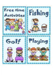 English Worksheet: FREE TIME ACTIVITIES 1 - FLASH CARDS